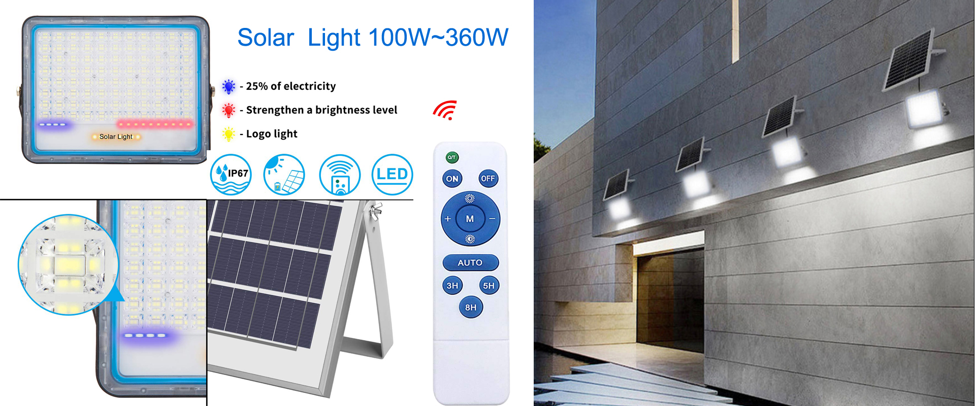 Solar flood light remote control